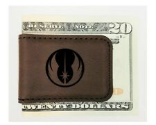 Personalized Engraved Money Clip Star Wars Inspired Magnetic Brown Leatherette