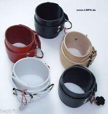 2 starke Leder Armbänder schwarz breit 26,5  x 6,5 cm + Metallring + Nieten LWPH