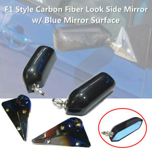 Car Manual Adjust Retro F1 Style Side Rear View Mirrors Carbon Fiber Surface L+R
