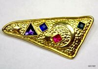 Abstract Modernist Park Lane Brooch Pin Gold Multi Color Cabochons Sagaofluck