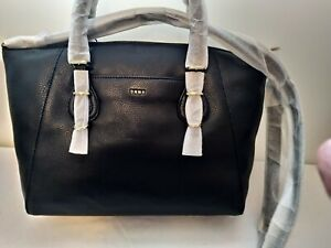 DKNY Large Soft Pebbled Leather Satchel in Black