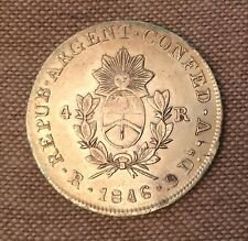 Oferta!! ARGENTINA. La Roja. 4 Reales, 1846-RV. About Extremely Fine
