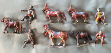 Lead Knights and horses painted 1980s used x5 horse 4x knights