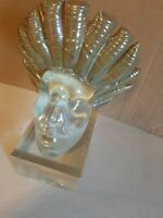 Rare Sculpture  Indian  Head Glass Mounted On Lucite  Base statue, figurine.