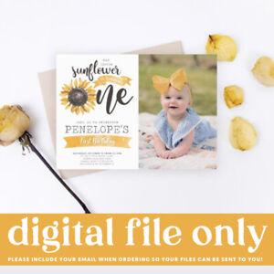 Printable Girl 1st Birthday Digital Invitation Our Little Sunflower Party Theme