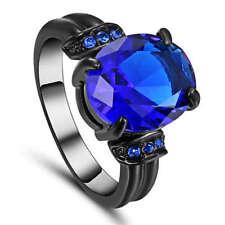 Size 7 Blue Sapphire Wedding Promise Ring Black Rhodium Plated jewelry