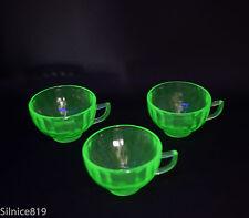 Vintage Green Vaseline Glass Paneled Sides Tea cups Set of 3
