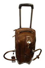 Real Leather Travel Holdall on Wheels & Trolley handle Chestnut Brown - Albert