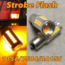 Strobe Flash Front Turn Signal light bulb 1156 BA15S 7506 SMD LED Amber W1 JAE