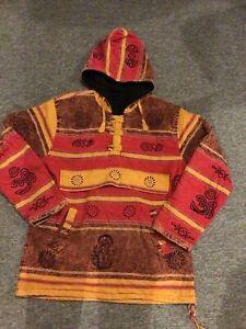 "Fabulous Nepal Unisex Cotton Festival fleece lined hooded Top 42"" Chest"