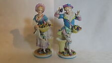 Continental vintage Victorian antique pair of figurine ornaments