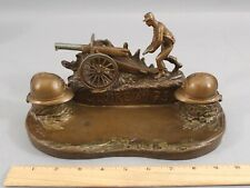 Antique Henri Fugere, Wwi Artillery 75mm Cannon French Helmet Inkwells Inkstand