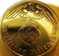 Nazi German 10 Reichspfennig 1938 Gold Coloured Coin Third Reich Eagle Swastik