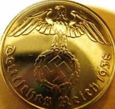 Nazi German 10 Reichspfennig 1938 Gold Coloured Coin Third Reich Eagle Swastika