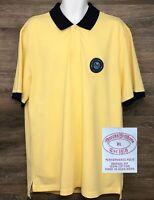 Brooks Brothers Mens Yellow Short Sleeve Performance Polo Shirt Regatta Patch XL