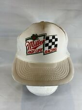 White Miller High Life Racing Mesh Trucker Hat Snap Back Closure