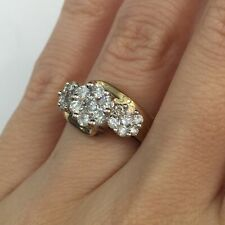 1.00 Ct Round Brilliant Cut Diamond Flower Right Hand Ring in 10k Gold G-H Si2
