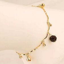 """New 14K Gold Filled Women 7-1/2"""" Purple Charm w/Accents on Chain Anklet"""