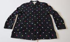 Diane's Essentials Diane Gilman (M) Black Flower Cotton Sweater Top Zipper Front