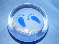 Caithness Glass Paperweight Tuesdays Child Blue New Baby Boy Christening Gift