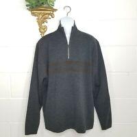 Pronto Uomo Men's Gray Brown Wool Blend 1/4 Zip Sweater Size 3XL Long Sleeve