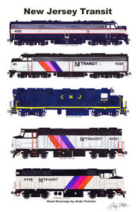 "NJ Transit Locomotives 11""x17"" Poster Andy Fletcher signed"