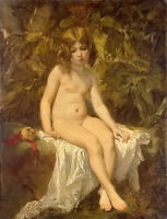 Oil painting thomas couture - the little bather young girl hand painted canvas