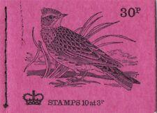 Gb Qe 1973 Stitched Booklet, 30p British Birds Series No.7 (Skylark) - Dq69