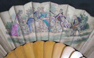 Vintage Victorian 19th Century Wood & Silk Hand Painted Scene Hand Fan
