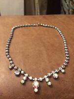 AB Aroura Borrealis Vintage 1950s 1960s Glass Necklace Sparkly Glamour Bridal