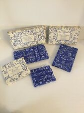 Vtg Blue Floral Bouquet Eyeglass Case Note Pad Sewing Kit Purse Accessories Avon