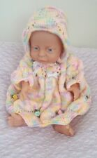 Premature baby girl dress and bonnet hand knitted pink yellow set outfit P5
