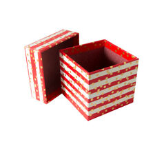 Lovely Small Rosso/Crema a Righe Scatola Regalo con puntini d'oro-H10cmxW10cmx-10cm GBS199