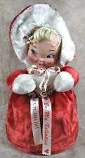 """Vintage Pajama Bag Doll 14"""" Rubber Face Be My Valentine Red Curler Cosmetic Bag"""
