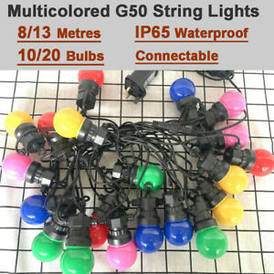 10-20 G50 Colored LED Bulbs Outdoor Garland Fairy String Lights Festival Wedding