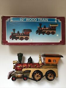 "Vintage Ornamental 10"" Inch Wood Train - Hand made With Box"