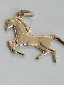 9ct Yellow Gold Horse Hollow Charm Pendant