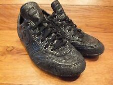 Cruyff Indoor Snakeskin Effect Black Leather Casual Trainers Size UK 7 EU 40