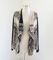 Lucky Brand Tan Black Geometric Draped Front Cardigan Sweater Size M Boho