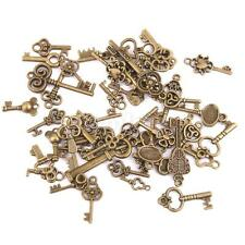 50 Assorted Steampunk Key Charms Pendants DIY Jewelry Craft Antique Bronze