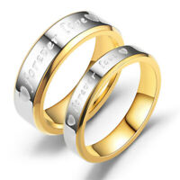 "Couples Promise Rings Stainless Steel Wedding Band ""FOREVER LOVE"" Jewelry NEW"