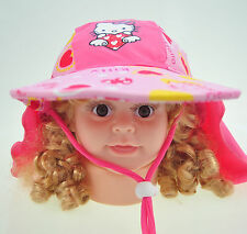 HELLO KITTY  BEACH SUN HAT / CAP Kids Child NEW w/ strap 50cm UPF 50+ NWT