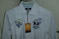 La Martina Asian Polo Tour TP Challenge Men's Shirt Medium Slim Fit Blue Stripe