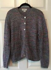 South Cotton Hand Knitted Cotton Cardigan Sweater Button-down Blue Pink Medium