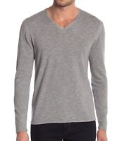John Varvatos Star USA Men's Long Sleeve V Neck Sweater Striated Knit Grey