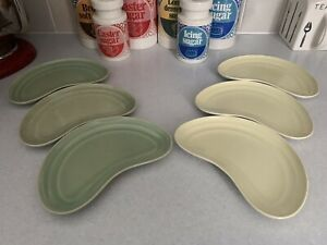 Branksome China Vintage Side Salad Plates Moon Shape Crescent 6 Green Yellow