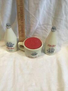 Vintage Lot Of Old Spice Shaving Mug With Lid &  4 3/4 Oz. After Shave & Cologne