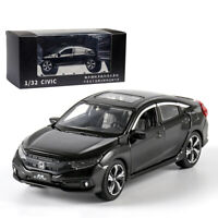 1:32 Honda Civic Model Car Diecast Toy Collection Sound & Light Black Kids Gift