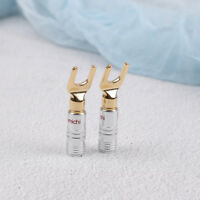 4x Gold Plated Screw Spade Banana Plug Connector 4mm Speaker Wire Cable FJ WQ