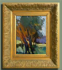 JOSE TRUJILLO ORNATE FRAMED OIL CANVAS PAINTING MODERNIST IMPRESSIONIST TREES